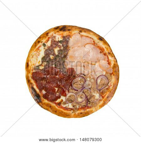 Pizza on a white background with meat, fillet, cheese, mushrooms, peas, onions and tomato sauce.