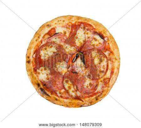 Pizza on a white background with tenderloin, cheese, tomato sauce, spices and chili pepper.