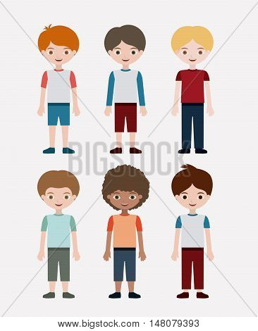 Boys cartoon. Kids childhood and people theme. Colorful design. Vector illustration