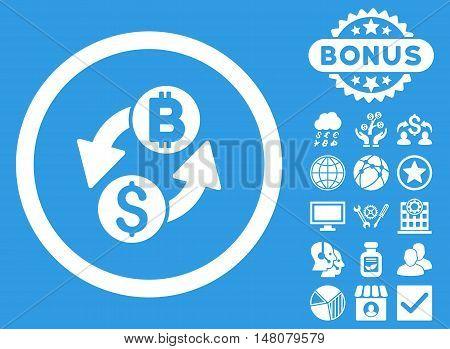 Dollar Bitcoin Exchange icon with bonus pictogram. Vector illustration style is flat iconic symbols white color blue background.