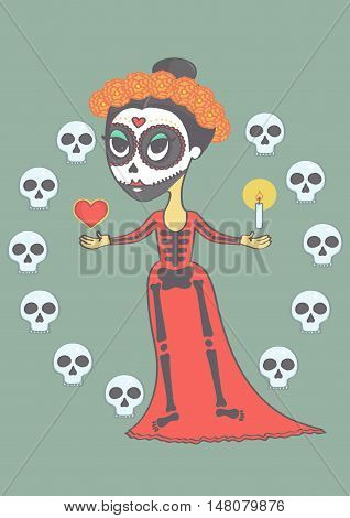 Colorful illustration with mexican girl in sugar skull makeup. Vector drawing of a girl for halloween or day of the dead.
