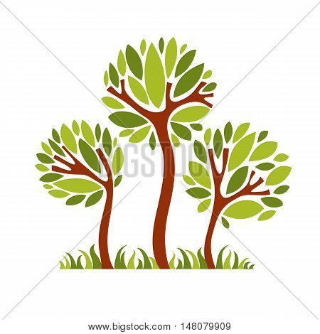 Vector image of creative tree nature concept. Art symbolic illustration of plant forest idea.