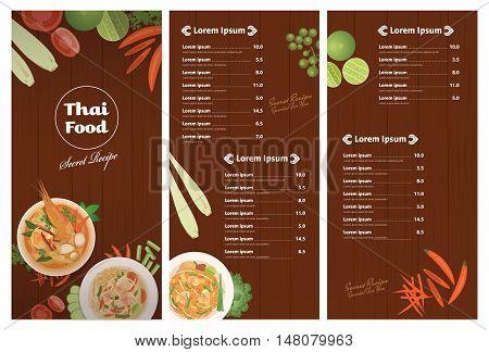 Thai foods restaurant menu templateThai dish and ingredients on wooden background