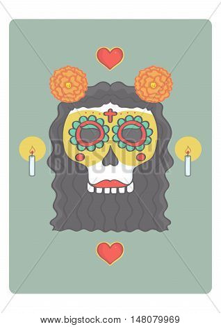 Sugar skull female head for Halloween or day of the dead.