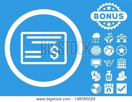 Dollar Cheque icon with bonus symbols. Vector illustration style is flat iconic symbols white color blue background.
