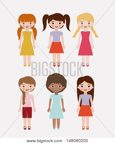 Girls cartoon. Kids childhood and people theme. Colorful design. Vector illustration