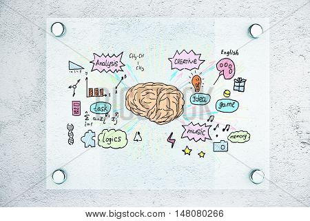 Front view of transparent glass plate with brain sketch on textured concrete background. Brainstorming concept. 3D Rendering