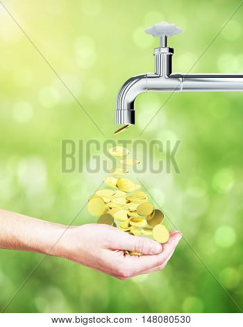 Male hand collecting golden coins coming out of tap on green background. Financial growth concept. 3D Rendering