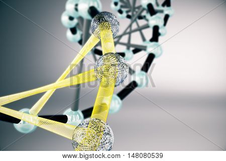 Abstract black and yellow DNA structure on grey background. 3D Rendering