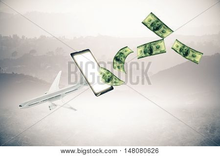 Abstract airplane and dollar bills flying out of smartphone screen on landscape background.3D Rendering. Online payment for plane tickets concept