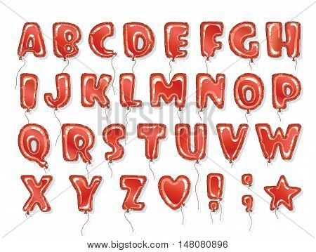 Hand drawn balloon alphabet. Perfect letters design for festive posters and postcards. Vector baby shower balloon font.