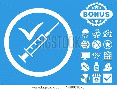 Done Vaccination icon with bonus design elements. Vector illustration style is flat iconic symbols white color blue background.