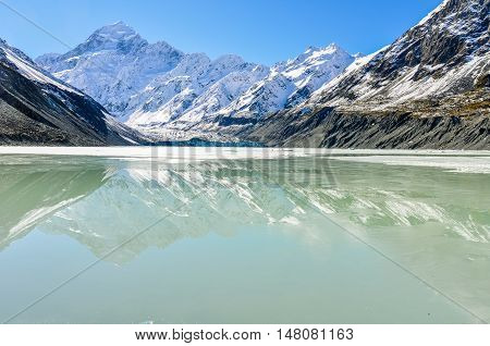 Mount Cook Reflection In Aoraki/mount Cook National Park, New Zealand