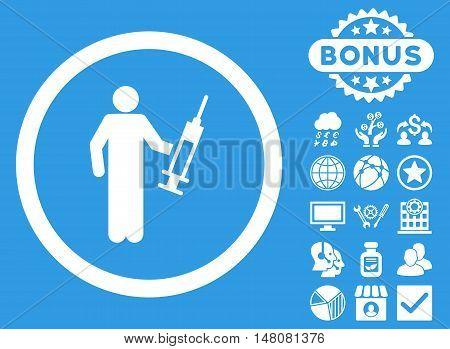 Drug Dealer icon with bonus design elements. Vector illustration style is flat iconic symbols white color blue background.