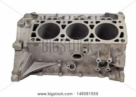 Part of internal combustion engine after powder coating on white background