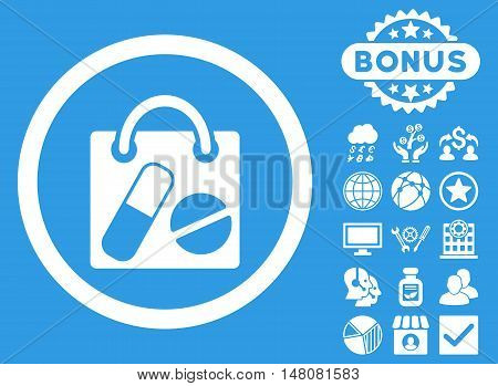 Drugs Shopping Bag icon with bonus design elements. Vector illustration style is flat iconic symbols white color blue background.