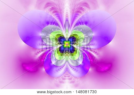 Abstract exotic flower on white background. Symmetrical pattern in bright pink purple grey and green colors. Fantasy fractal design for posters wallpapers or t-shirts. Digital art. 3D rendering.