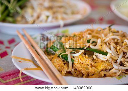 Stir fried rice noodles or Pad Mee Korat on the table ,Pad Thai,Thai food