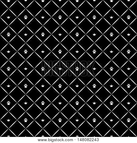 Seamless luxury dog paw pattern with crowns. Black and white print. Vector illustration.