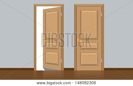 Realistic opened and closed classic wooden door. Flat color style design