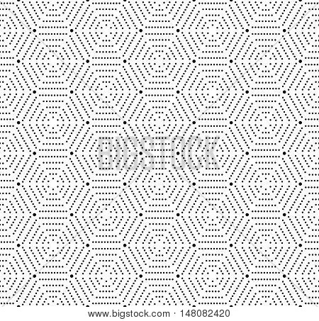 Geometric repeating ornament with hexagonal dotted elements. Seamless abstract modern pattern. Black and white pattern