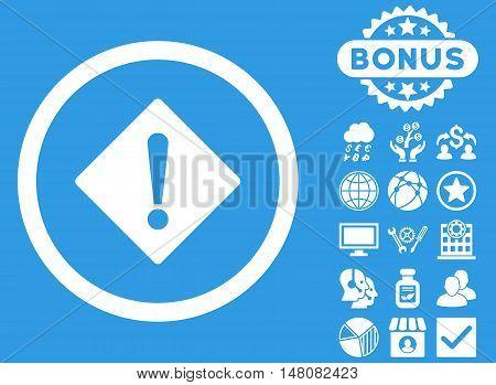 Error icon with bonus pictogram. Vector illustration style is flat iconic symbols white color blue background.