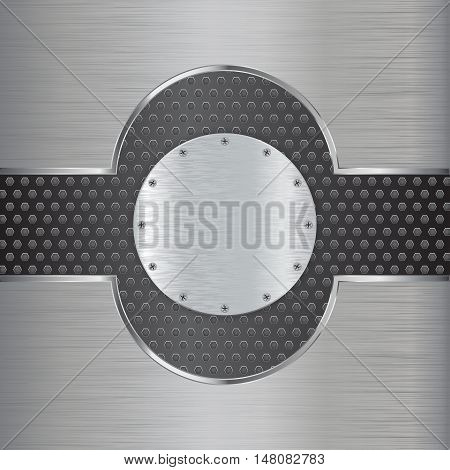 Metal round plate with screw. Steel scratched background. Vector illustration