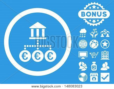 Euro Bank Transactions icon with bonus images. Vector illustration style is flat iconic symbols white color blue background.