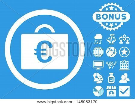 Euro Bookkeeping Case icon with bonus images. Vector illustration style is flat iconic symbols white color blue background.