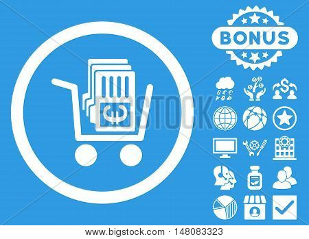 Euro Cash Out icon with bonus elements. Vector illustration style is flat iconic symbols white color blue background.