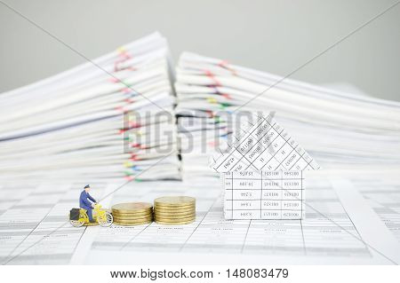 Postman Cycling Pass Step Pile Of Gold Coins And House