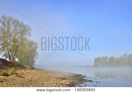 Foggy autumn morning on the bank of the river. The fog dissipated and rises to the pure blue sky