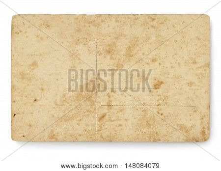 Back view of postcard with ancient texture. Clipping path