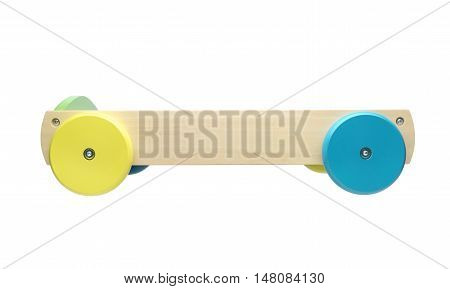 Toy truck side view isolated on white background.Clipping path
