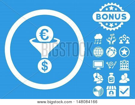 Euro Dollar Conversion Funnel icon with bonus images. Vector illustration style is flat iconic symbols white color blue background.