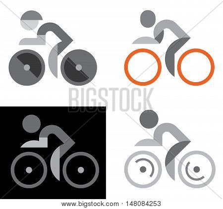 Four variants of cyclist vector icons isolated on a white background. Can be used as logo.