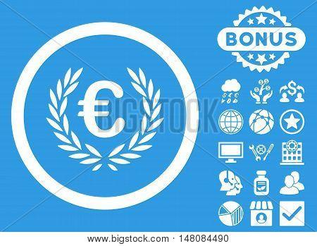 Euro Glory icon with bonus pictogram. Vector illustration style is flat iconic symbols white color blue background.