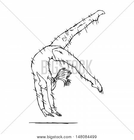 illustration vector doodle hand drawn of young fit gymnast woman performing art gymnastics element with speed lines