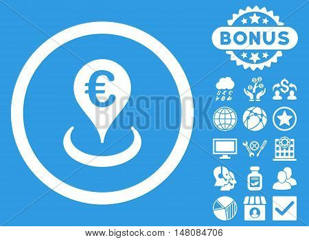 Euro Location icon with bonus design elements. Vector illustration style is flat iconic symbols white color blue background.