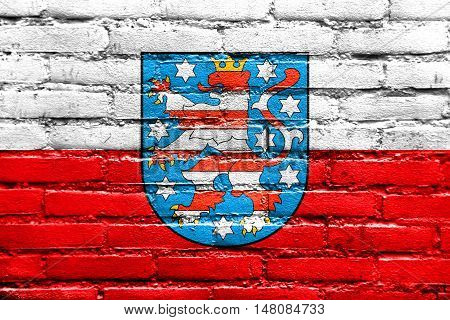 Flag Of Thuringia With Coat Of Arms, Germany, Painted On Brick Wall