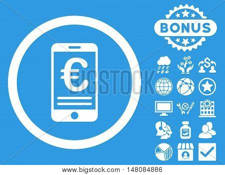 Euro Mobile Bank Account icon with bonus images. Vector illustration style is flat iconic symbols white color blue background.