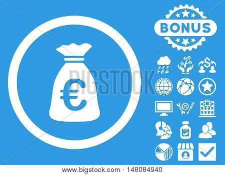 Euro Money Bag icon with bonus pictures. Vector illustration style is flat iconic symbols white color blue background.