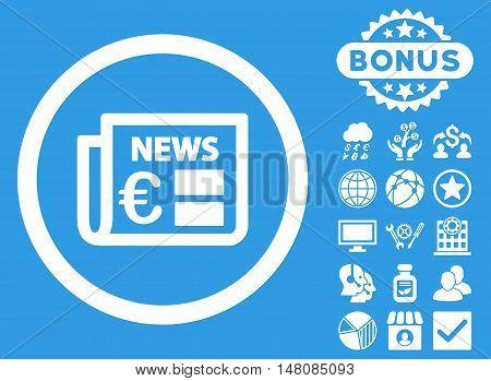 Euro Newspaper icon with bonus images. Vector illustration style is flat iconic symbols white color blue background.