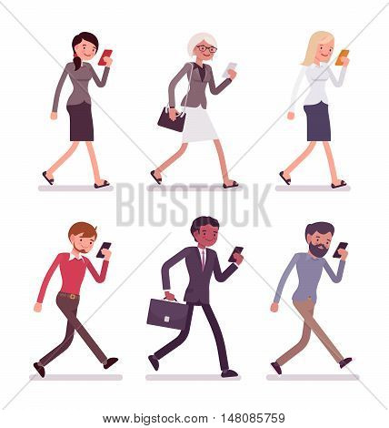 Set of men and women walking holding a phone. Cartoon vector flat-style illustration