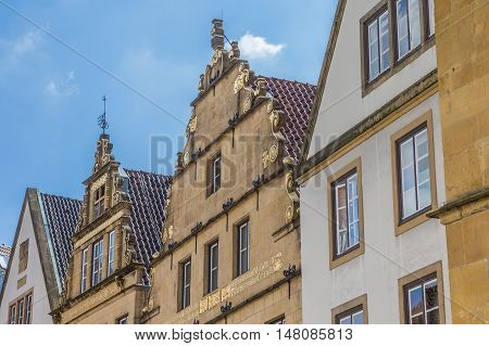 Historical Facades On The Central Market Square Of Bielefeld