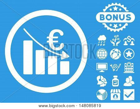Euro Recession icon with bonus pictogram. Vector illustration style is flat iconic symbols white color blue background.