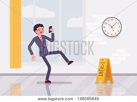 Man with a smartphone slipps on the wet floor. Cartoon vector flat-style concept illustration