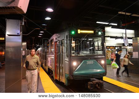 BOSTON - OCT 3: Boston Metro (MBTA) Ansaldo Breda Type 8 Green Line at Park Street Station on Oct. 3, 2013 in downtown Boston, Massachusetts, USA.