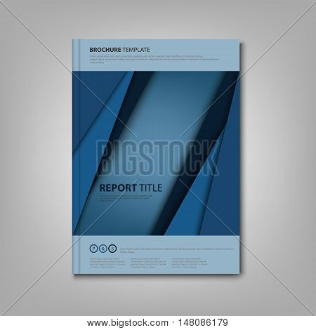 Brochures book or flyer with blue abstract stripes template vector eps 10