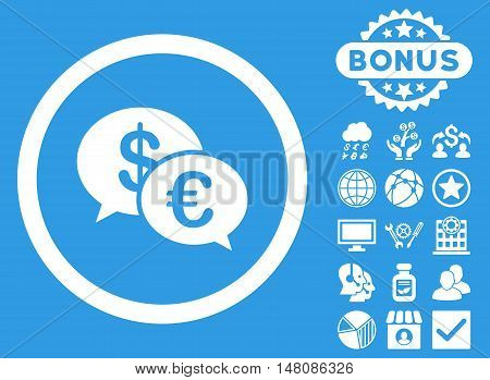 Euro Transactions icon with bonus pictures. Vector illustration style is flat iconic symbols white color blue background.